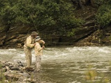 Father and Son Fly Fishing in Moose Creek