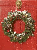 Christmas wreath hanging on a door