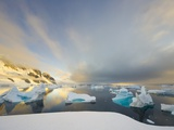 Evening Light on Mountains and Icebergs on Antarctic Peninsula