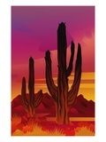 view of cactuses silhouetted against sunset sky in desert