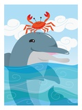 Crab Dancing on Dolphin&#39;S Head
