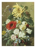 A Rich Still Life with Sunflower and Roses