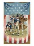 Fourth of July Postcard with Continental Soldiers