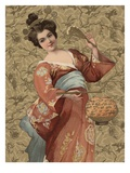 Postcard of Geisha Holding Lantern