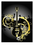 Abstract Design Between Guitar and Crowd