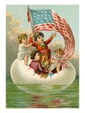 Postcard with Children in Egg Holding American Flag