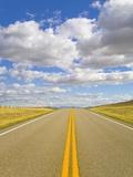 Yellow Lines Freshly Painted on Rural Highway