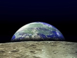 Earth Rising Over Moon Surface