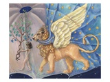 Illustration of a Child and a Winged Lion by Alexandra Day