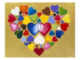 multicoloured heart shapes