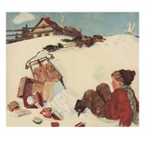 Illustration of Boy and Groceries Falling Off Sled