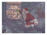 Illustration of Santa Looking in Window at Family by E Boyd Smith