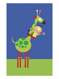 A Boy Riding a Green Giraffe