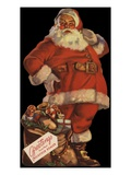 Illustration of Santa with Bag of Toys