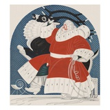 Magazine Illustration of Stylized Santa with Reindeer