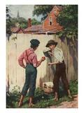 Illustration of Tom Sawyer Whitewashing a Fence by Worth Brehm