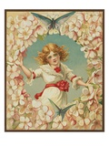 Victorian Illustration of Girl Surrounded by Flowers