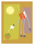 Robot watering a plant