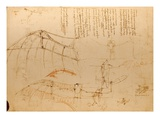 Drawing of Flying Machine with Beating Wings by Leonardo da Vinci
