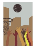 Hands Reaching for Basketball