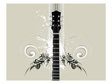 neck of guitar and swirl designs