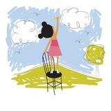 Imaginative little girl