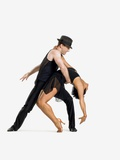 Two dancers performing salsa