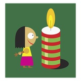 A Little Girl Looking at a Giant Candle