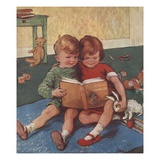 Illustration of Brother and Sister Reading