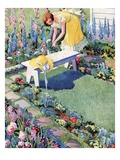 Illustration of Woman Gardening in Backyard