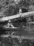 1940s 1950s Pair Of Boys In Straw Hats and Cuffed Jeans Fishing In Stream