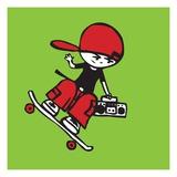 Skateboarder holding boom box