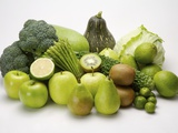 Stack of green fruits and vegetables