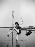 1920s Woman Crabbing Surprised By Crab Biting Her Toe