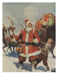 Illustration of Santa and His Sleigh by Frank E Schoonover