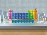 Periodic table of the elements with glassware