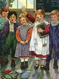 Illustration of children in schoolroom by Clara M Burd