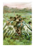 Illustration of Boys in Rugby Scrimmage