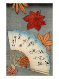 Japanese print of fan with maple leaves