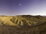 Moon over Zabriskie Point in Death Valley National Park