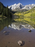 Aspens reflecting in lake under Maroon Bells  Colorado