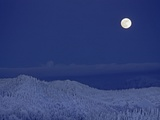 Moonrise over Glacier National Park from The Big Mountain ski area