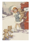 Illustration of girl and teddy bears mailing letters