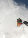 Skier in deep powder at Alta  Utah
