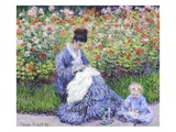 Camille Monet and a Child in the Artist's Garden in Argenteuil Giclée par Claude Monet