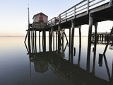 Fishing pier at low tide in a calm bay