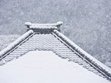 Snow covered temple roof