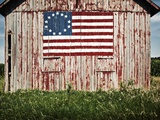 American flag painted on barn