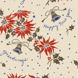 Happy new year pattern with flowers and bells