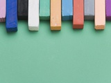 Close-up of color chocks